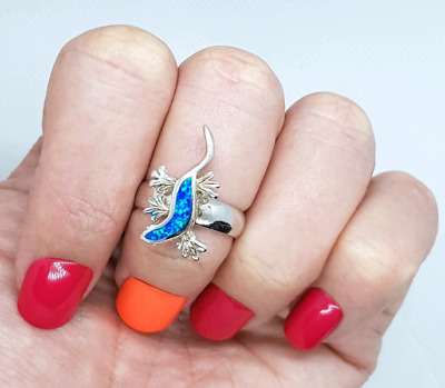 OPAL Ring (created), small size, 925 Sterling Silver, Divine Blue
