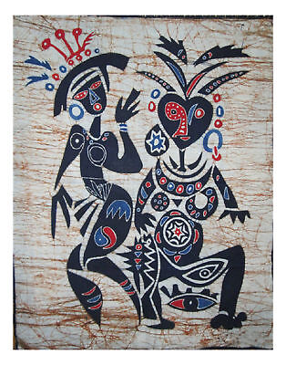 Handmade Original Tribal Couple Dancing Batik Portrait Painting Wall Decor Art