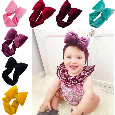 Baby Girls Kid Toddler Big Bow Hairband Headband Knot Stretch Turban Accessories