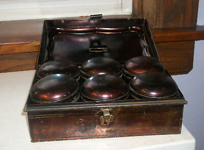Old Toleware Spice Box with 6 Tins 1890s  Japanned Black