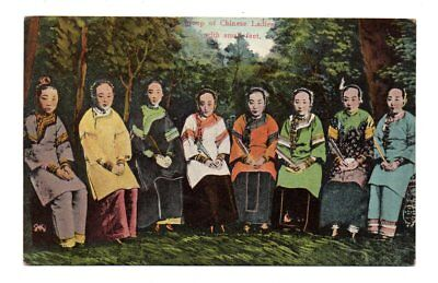 CHINA, 8 WOMEN WITH BOUND FEET SEATED IN CHAIRS, STERNBERG PUB, c. 1904-14
