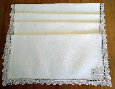 Gift Idea 4 Vintage Dinner Table Napkins Venice Lace Edge & Corner Ready to Use