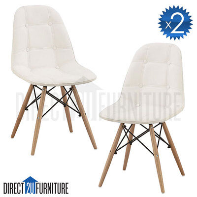 2x WHITE Retro Replica Eames DSW Dining Chair PU Leather Padded Seat Cafe Office