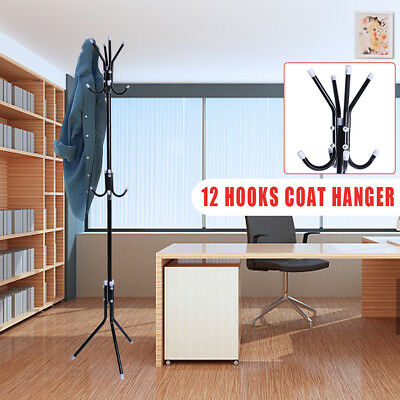 12 Hook Coat Hat Stand 3Tier Organizer Clothes Hanger Purse Shelf Scarf Bag Rack