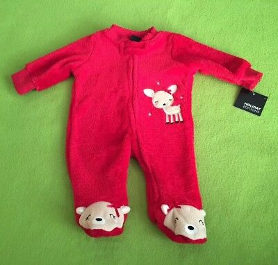 NWT Holiday Editions Baby Girl's Christmas footed Sleeper reindeer& bows size nb