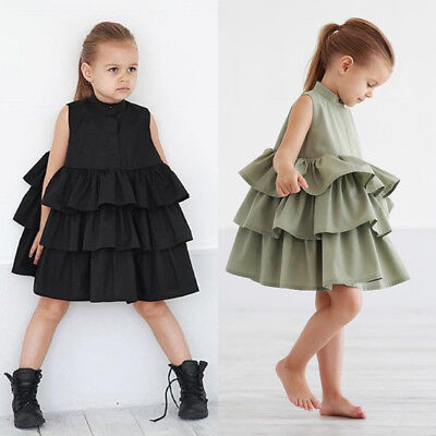 AU Summer Kid Baby Girls Party Pageant Ruffles Princess Tutu Dresses Clothes