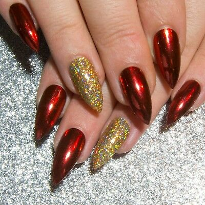 Red Chrome Stiletto Glitter Press On Gel Acrylic Fake Faux Full False Glue Nails