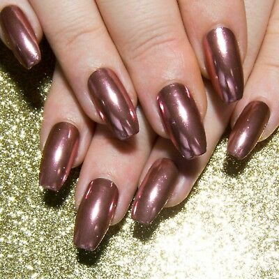 Rose Gold Chrome Coffin Press On Gel Acrylic Faux Full Cover False Glue On Nails