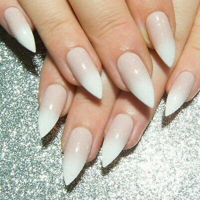 Baby Boomer French Manicure Press On Gel Acrylic Fake False Faux Glue On Nails