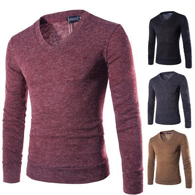Homme Coupe Slim Pull Pull Tricot Pull Col V Manches Longues Neuf