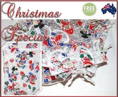 Christmas Organza Bag Sheer Bags Jewellery Wedding Candy Packaging Gift 50/100
