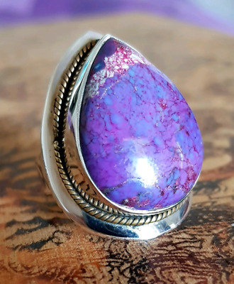 Huge Pear Shaped, Purple Turquoise Ring, size 8 3/4, 925 Silver