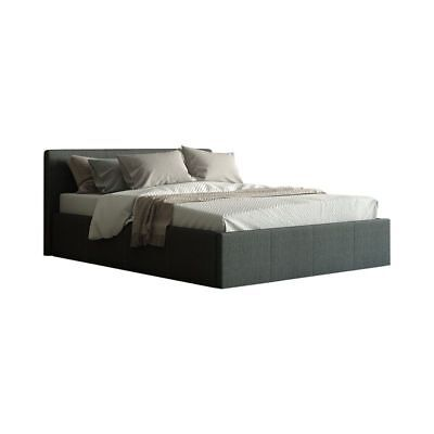 Metal Upholstered Bed Grey Small Double Polyester Headboard Bedroom Furniture