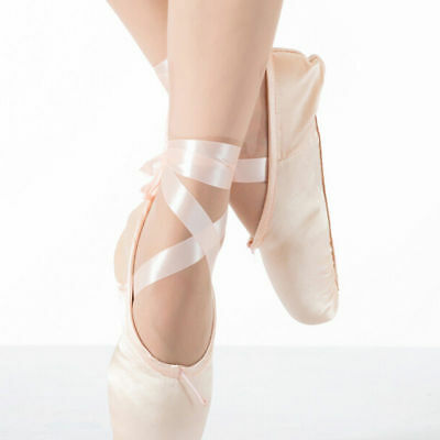 Girls Ballet Dance Toe Shoes Professional Ladies Satin Pointe Shoes Silk Soft US