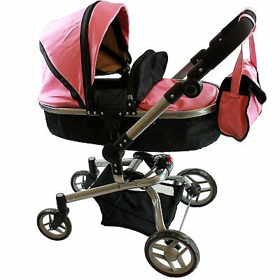 "Mommy & me 2in1 Deluxe Leather Doll Stroller Extra Tall 32""H Pink Girl Xmas Gift"