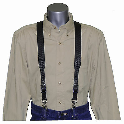 2nds Black Basket Weave Leather Suspenders with trigger scissor snaps no slip