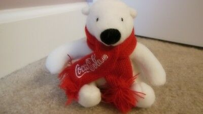 Coke Coca-Cola Plush Stuffed Polar Bear with Red Scarf About 5 in Tall