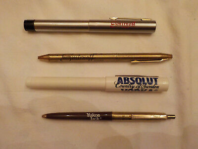 Lot Of 4 Assorted Whiskey Advertising Pens,smurnoff ,absolut Vodka,yucon Jack