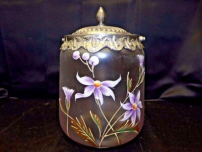 1930 Frosted Glass Hand Painted Ice Bucket Candy Jar Floral Decor Lid No Handle