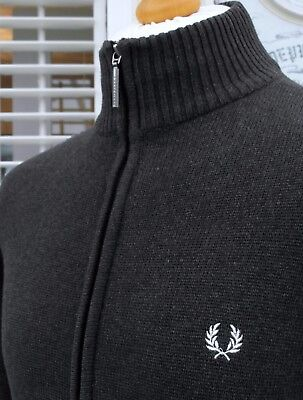 Fred Perry Grey Funnel Neck Zip-Thru Knitted Cardigan - S/M - Ska Mod Scooter