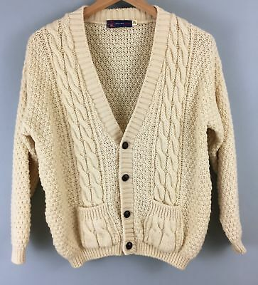 Vintage pure British Wool ARAN cream cable jumper sweater XS 11/13 years