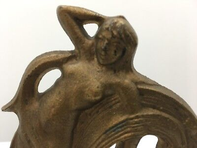 Water Sprite Bookends Acorn Foundry Art Nouveau Deco Female Figural Marked Pair