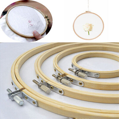 Wood Cross Stitch Machine Embroidery Hoop Ring Bamboo Sewing Frame 10-40cm US