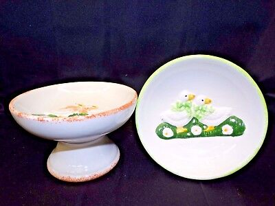 Pair of Vintage Matching Footed Ceramic Candy Bowls - Goose Decor - Candy Dish
