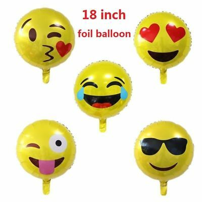 "Party Emoji Foil Balloons Birthday Celebration Decorations Smiley Face 18"" baloo"