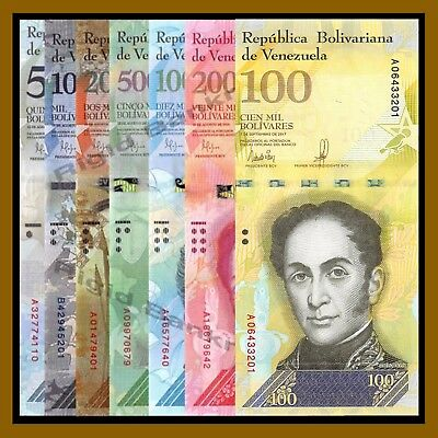 Venezuela 500 to 100000 Bolivares (7 Pcs Full Set), 2016/2017 P-New Unc