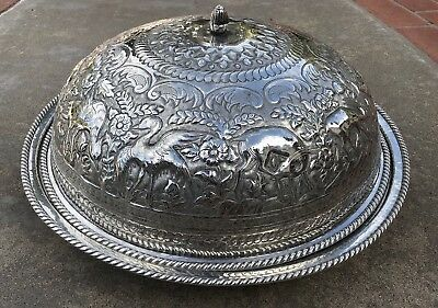 MUSEUM QUALITY ANTIQUE 241.8 Oz SOLID SILVER PERSIAN ISLAMIC SERVING LIDDID BOWL