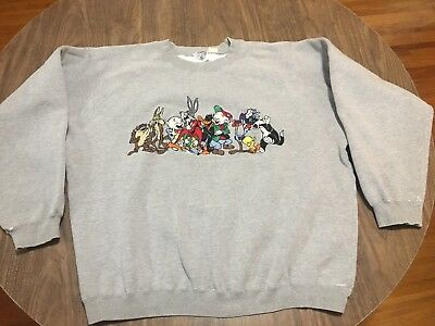 True Vintage 1992 Looney Tunes Stitched Cast Of Characters XL Gray Sweatshirt
