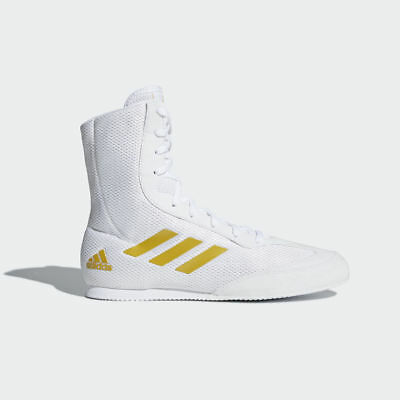 Adidas Box Hog Plus Boxing Boots Mens White Gold Sports Shoes Trainers New