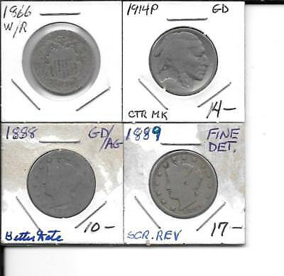Nickel Deal 1866 Shield, 1888 And 1889 V- Nickels, 1914P Buffalo Nickels Fillers