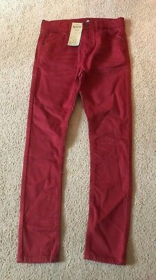 Size: Age 10-11 years - Boys Red Skinny Adjustable Jeans Trousers - M&S - BNWT