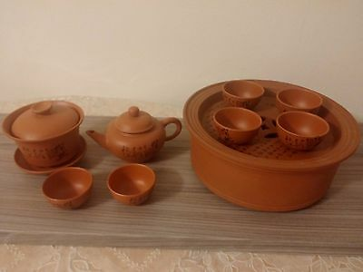 Chinese Red Clay Gongfu Tea Pot Set Terracotta Earthenware