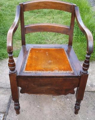 19th Century Antique Chamber Pot Wooden Chair Vintage Commode Potty Toilet