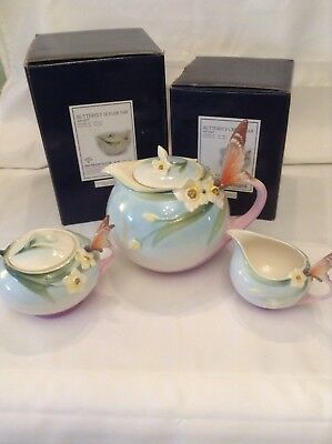 Franz Porcelain Beautiful Large Butterfly Teapot,boxed Sugar,boxed Milk.perfect
