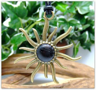 Sun Pendant Necklace in 5000 year old Irish Bog Oak Wood Antique Bronze Gift