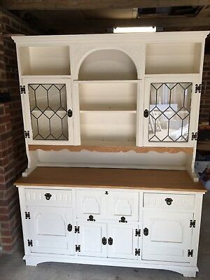 Vintage Old Charm Oak Welsh Dresser hand painted in Farrow and Ball White Tie
