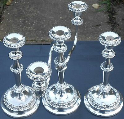 Candelabra & Pair Of Matching Candlesticks - Silver Plated - Vintage Ianthe