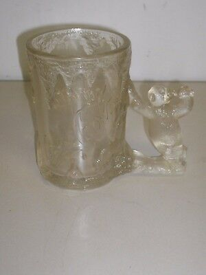 COCA-COLA, Raised Relief, Bear Handle, Frosted Icicle, Glass Mug