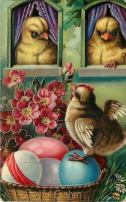 Bright Bold Pink Flowers~Easter~Yellow Chicks In Windows~Baby Rooster~Emb~#1520b