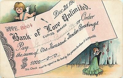 Valentine~Cupid Shoots Arrow~Check For 1000 Tender Greetings~Bank Of Love~TUCK