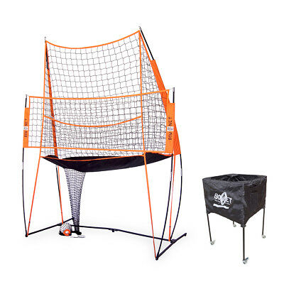 BUNDLE PACK - Bownet 11' x 8' Volleyball Practice Station with Volleyball Caddy