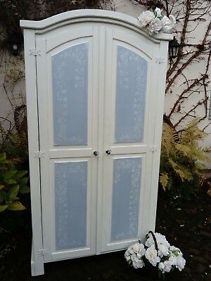 Beautiful Shabby Chic Solid Pine Double Wardrobe Hand painted In Annie Sloan.