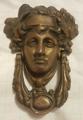 Antique Victorian Brass Bronze Door Knocker Greek God Goddess 1870 Norfolk home