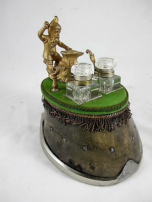 Horse Hoof Inkstand With Blacksmith Pen Holder C1900