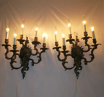 Amazing Pair Large Antique Vtg French ROCOCO Sconces Brass Bronze Floral Baroque
