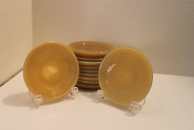 Akro Agate Childs Small Teaset Saucers Beige Concentric Ring/stacked Disc
